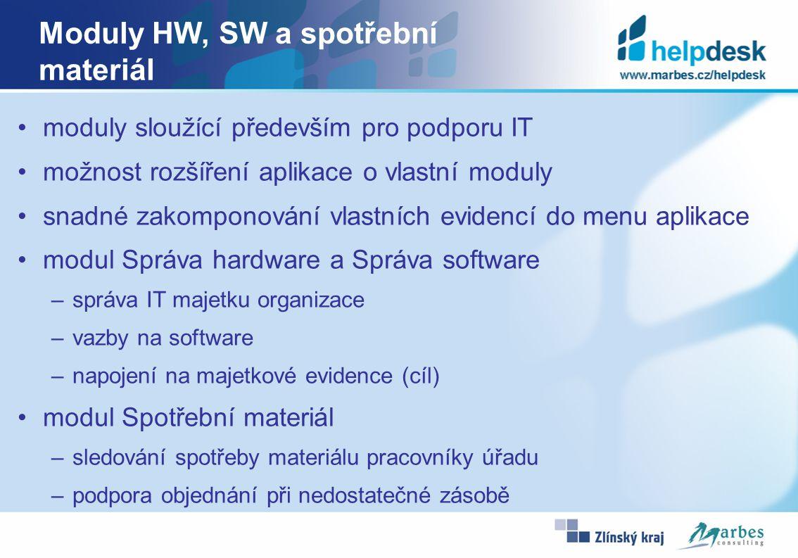 Moduly HW, SW a spotřební materiál moduly sloužící především pro podporu IT možnost rozšíření aplikace o vlastní moduly snadné zakomponování vlastních