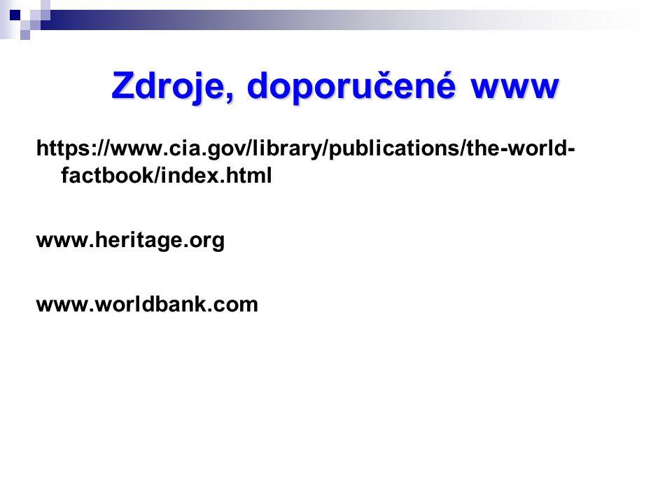 Zdroje, doporučené www https://www.cia.gov/library/publications/the-world- factbook/index.html www.heritage.org www.worldbank.com