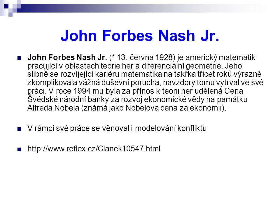 John Forbes Nash Jr. John Forbes Nash Jr. (* 13. června 1928) je americký matematik pracující v oblastech teorie her a diferenciální geometrie. Jeho s