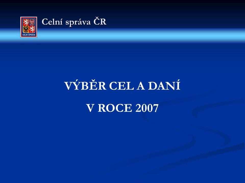 Celní správa ČR VÝBĚR CEL A DANÍ V ROCE 2007