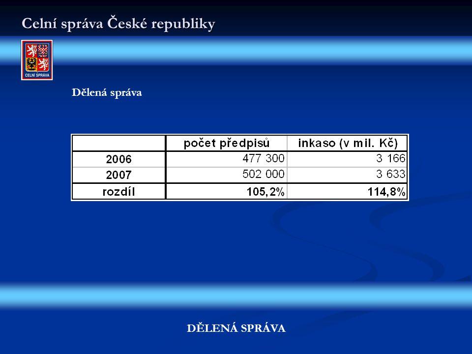 Celní správa České republiky DĚLENÁ SPRÁVA Dělená správa