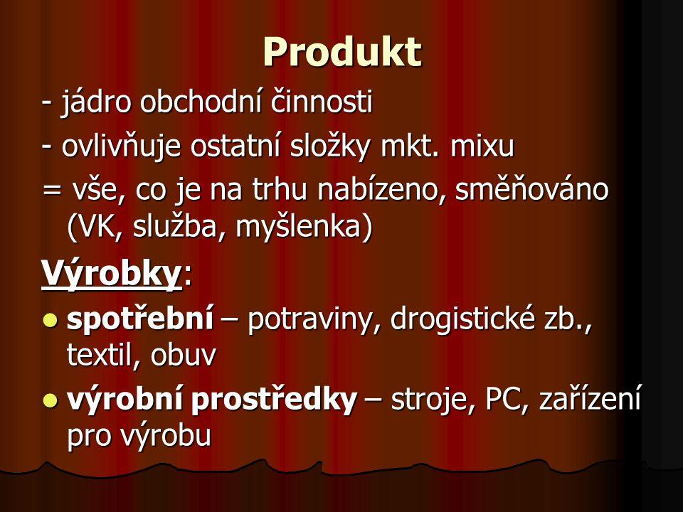 Produkt - jádro obchodní činnosti - ovlivňuje ostatní složky mkt.