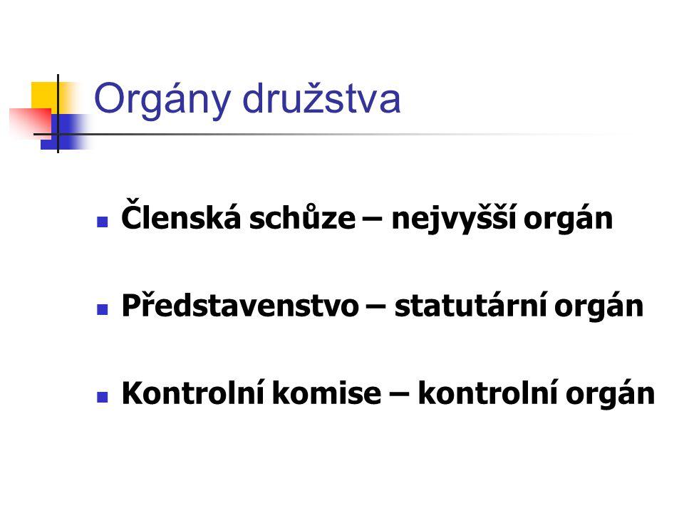Orgány družstva Členská schůze – nejvyšší orgán Představenstvo – statutární orgán Kontrolní komise – kontrolní orgán