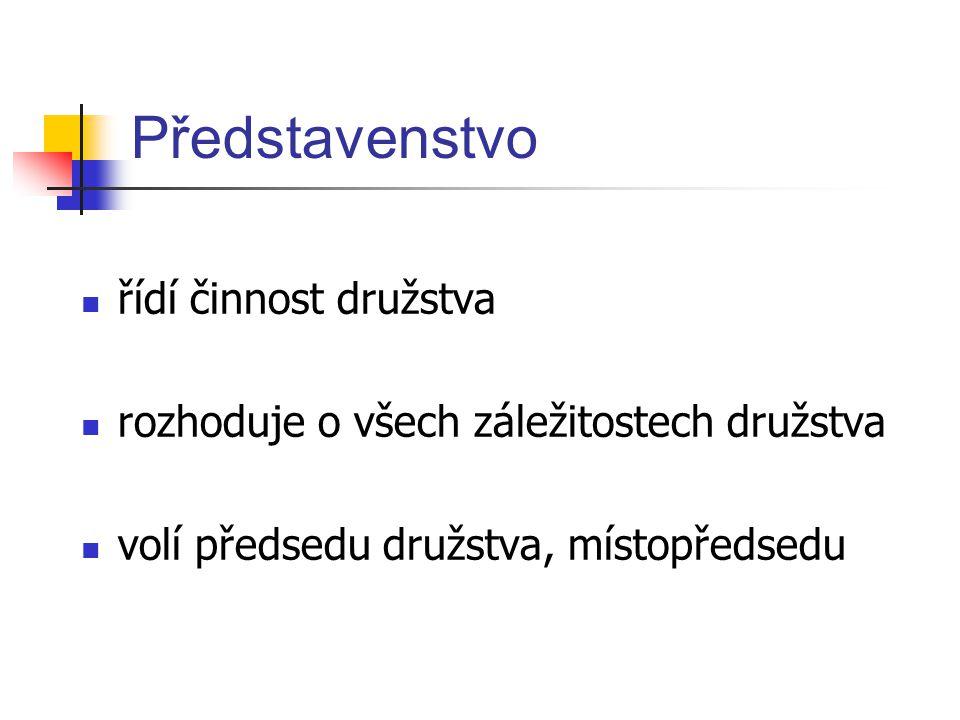 Představenstvo řídí činnost družstva rozhoduje o všech záležitostech družstva volí předsedu družstva, místopředsedu