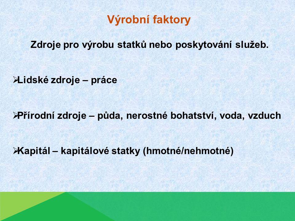 Výrobní faktory Zdroje pro výrobu statků nebo poskytování služeb.