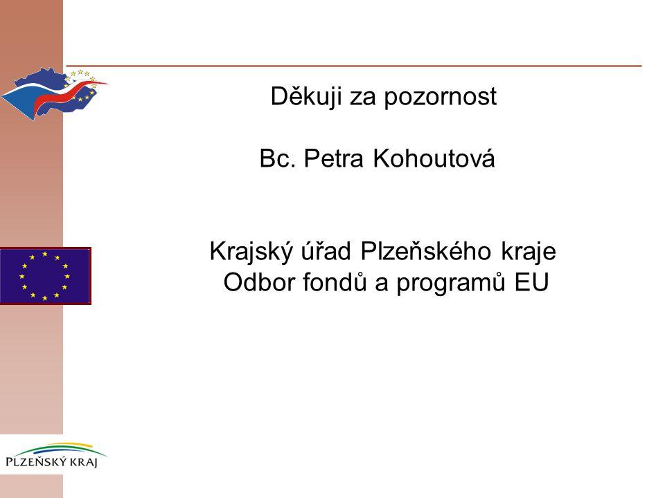 Děkuji za pozornost Bc. Petra Kohoutová Krajský úřad Plzeňského kraje Odbor fondů a programů EU