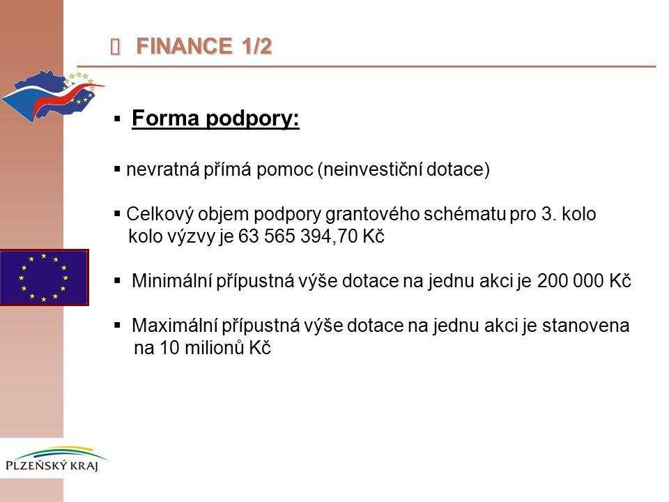  FINANCE 1/2  Forma podpory:  nevratná přímá pomoc (neinvestiční dotace)  Celkový objem podpory grantového schématu pro 3.