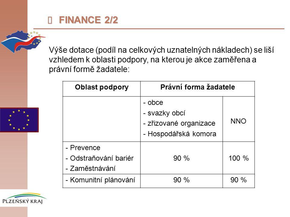  FINANCE 2/2 Výše dotace (podíl na celkových uznatelných nákladech) se liší vzhledem k oblasti podpory, na kterou je akce zaměřena a právní formě žadatele: Oblast podporyPrávní forma žadatele - obce - svazky obcí - zřizované organizace - Hospodářská komora NNO - Prevence - Odstraňování bariér - Zaměstnávání 90 %100 % - Komunitní plánování90 %