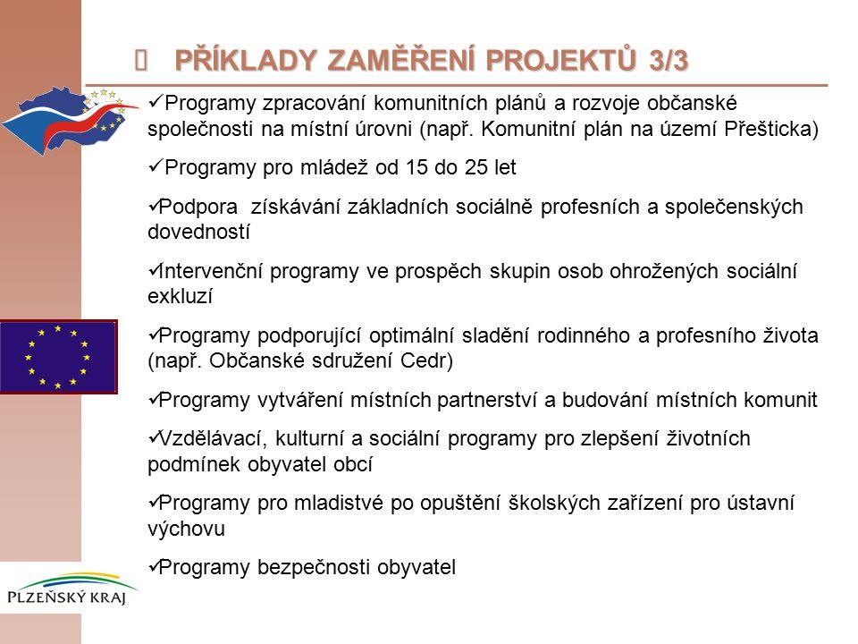  PŘÍKLADY ZAMĚŘENÍ PROJEKTŮ 3/3 Programy zpracování komunitních plánů a rozvoje občanské společnosti na místní úrovni (např.