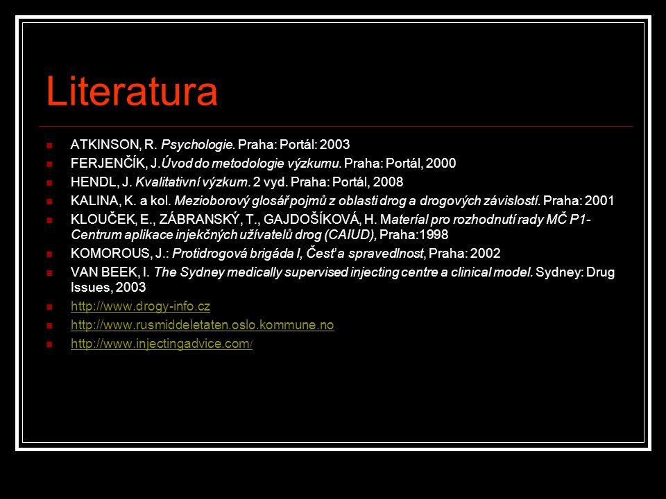 Literatura ATKINSON, R. Psychologie. Praha: Portál: 2003 FERJENČÍK, J.Úvod do metodologie výzkumu. Praha: Portál, 2000 HENDL, J. Kvalitativní výzkum.