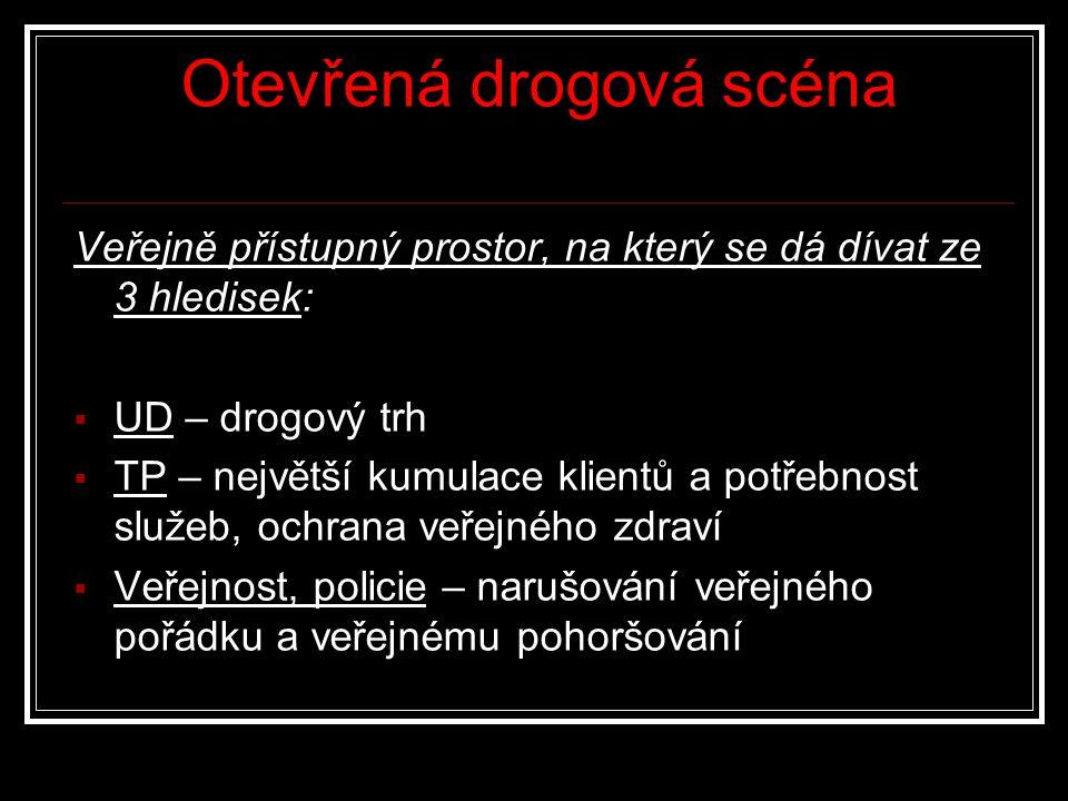 Otevřená drogová scéna Veřejně přístupný prostor, na který se dá dívat ze 3 hledisek:  UD – drogový trh  TP – největší kumulace klientů a potřebnost