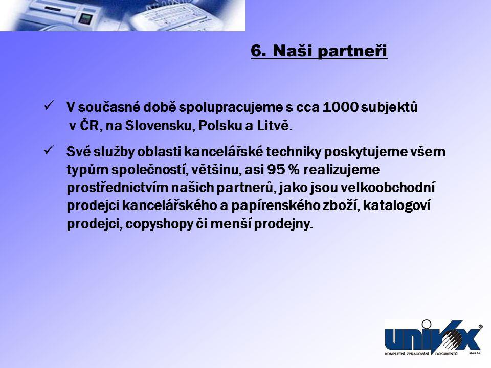 V současné době spolupracujeme s cca 1000 subjektů v ČR, na Slovensku, Polsku a Litvě. Své služby oblasti kancelářské techniky poskytujeme všem typům