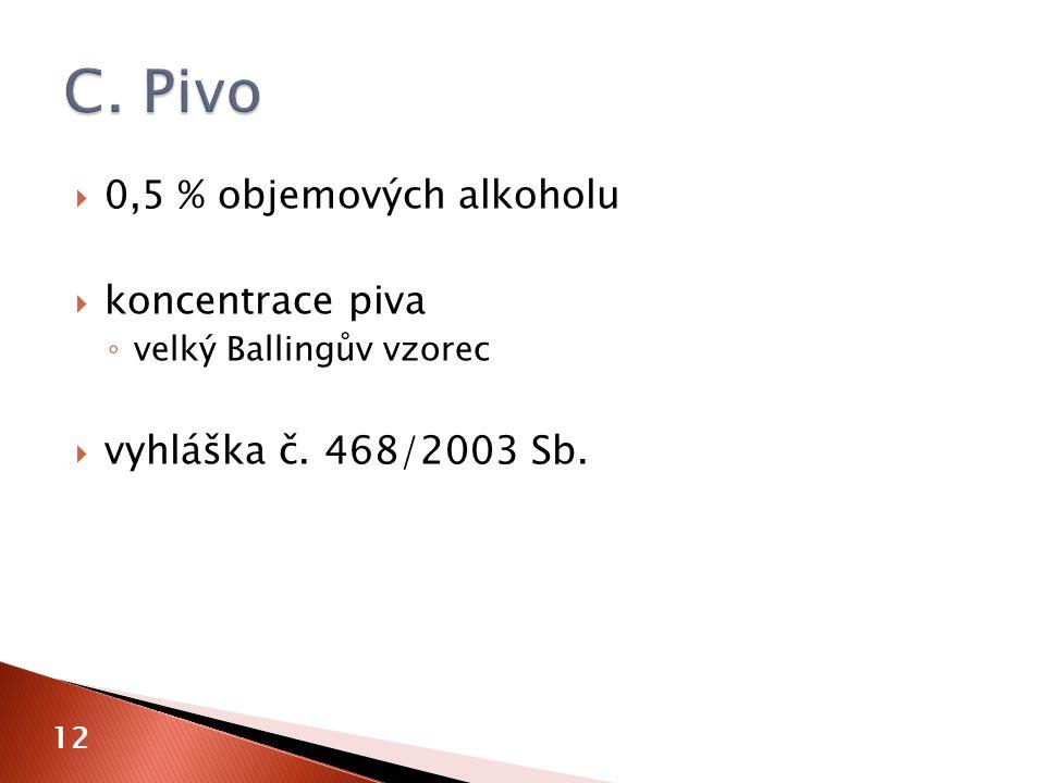  0,5 % objemových alkoholu  koncentrace piva ◦ velký Ballingův vzorec  vyhláška č. 468/2003 Sb. 12