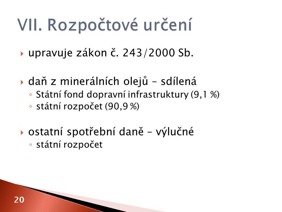  upravuje zákon č. 243/2000 Sb.  daň z minerálních olejů – sdílená ◦ Státní fond dopravní infrastruktury (9,1 %) ◦ státní rozpočet (90,9 %)  ostatn