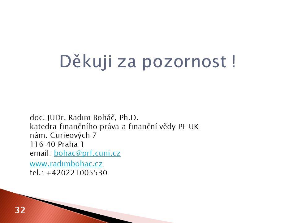 doc. JUDr. Radim Boháč, Ph.D. katedra finančního práva a finanční vědy PF UK nám. Curieových 7 116 40 Praha 1 email: bohac@prf.cuni.czbohac@prf.cuni.c
