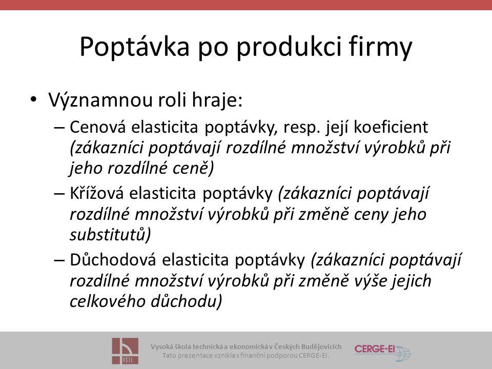 Vysoká škola technická a ekonomická v Českých Budějovicích Tato prezentace vznikla s finanční podporou CERGE-EI. Poptávka po produkci firmy Významnou