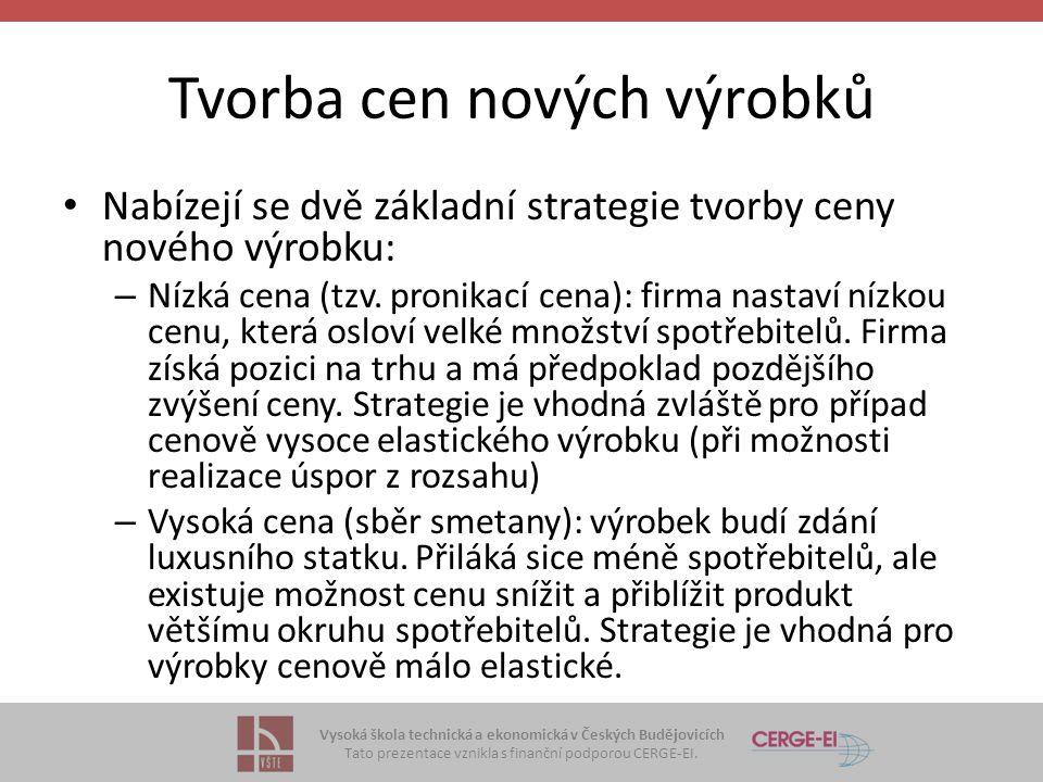 Vysoká škola technická a ekonomická v Českých Budějovicích Tato prezentace vznikla s finanční podporou CERGE-EI. Tvorba cen nových výrobků Nabízejí se