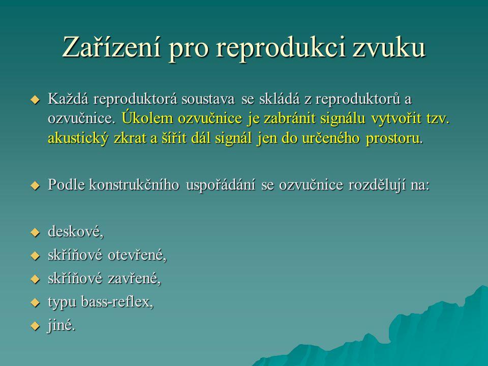 Zařízení pro reprodukci zvuku  Každá reproduktorá soustava se skládá z reproduktorů a ozvučnice.
