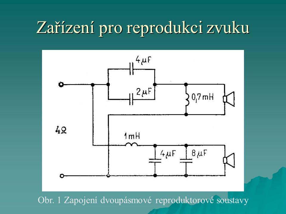 Zařízení pro reprodukci zvuku Obr. 1 Zapojení dvoupásmové reproduktorové soustavy