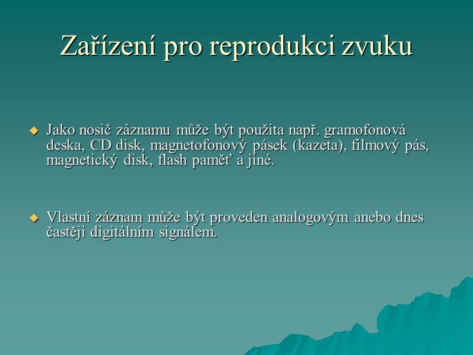 Zařízení pro reprodukci zvuku  Jako nosič záznamu může být použita např.