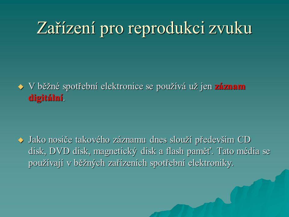 Zařízení pro reprodukci zvuku  V běžné spotřební elektronice se používá už jen záznam digitální.