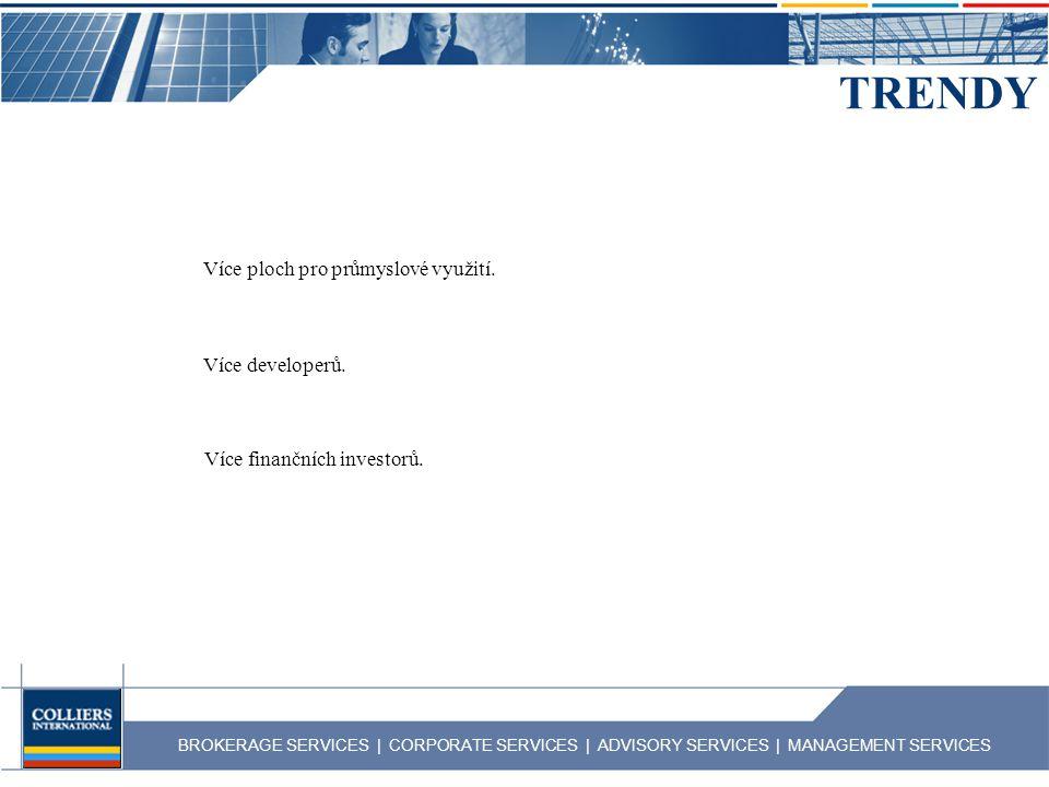 BROKERAGE SERVICES | CORPORATE SERVICES | ADVISORY SERVICES | MANAGEMENT SERVICES TRENDY Více ploch pro průmyslové využití. Více developerů. Více fina