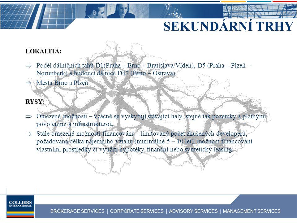 BROKERAGE SERVICES | CORPORATE SERVICES | ADVISORY SERVICES | MANAGEMENT SERVICES SEKUNDÁRNÍ TRHY LOKALITA:  Podél dálničních tahů D1(Praha – Brno –