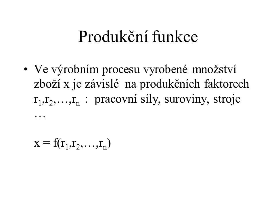 Produkční funkce Ve výrobním procesu vyrobené množství zboží x je závislé na produkčních faktorech r 1,r 2,…,r n : pracovní síly, suroviny, stroje … x