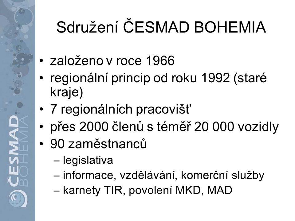 Sdružení ČESMAD BOHEMIA založeno v roce 1966 regionální princip od roku 1992 (staré kraje) 7 regionálních pracovišť přes 2000 členů s téměř 20 000 voz