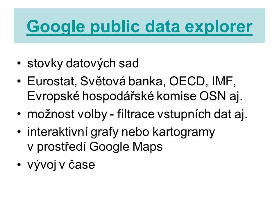 Google public data explorer stovky datových sad Eurostat, Světová banka, OECD, IMF, Evropské hospodářské komise OSN aj.