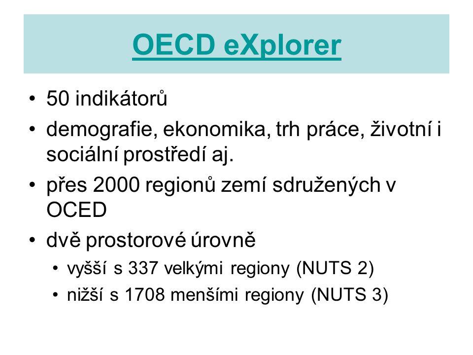 OECD eXplorer 50 indikátorů demografie, ekonomika, trh práce, životní i sociální prostředí aj.