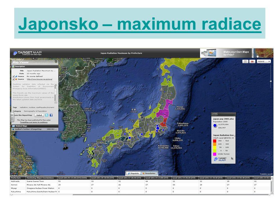 Japonsko – maximum radiace