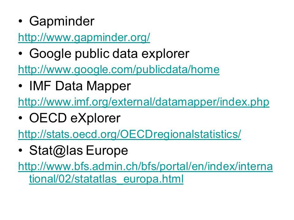 Gapminder http://www.gapminder.org/ Google public data explorer http://www.google.com/publicdata/home IMF Data Mapper http://www.imf.org/external/datamapper/index.php OECD eXplorer http://stats.oecd.org/OECDregionalstatistics/ Stat@las Europe http://www.bfs.admin.ch/bfs/portal/en/index/interna tional/02/statatlas_europa.html