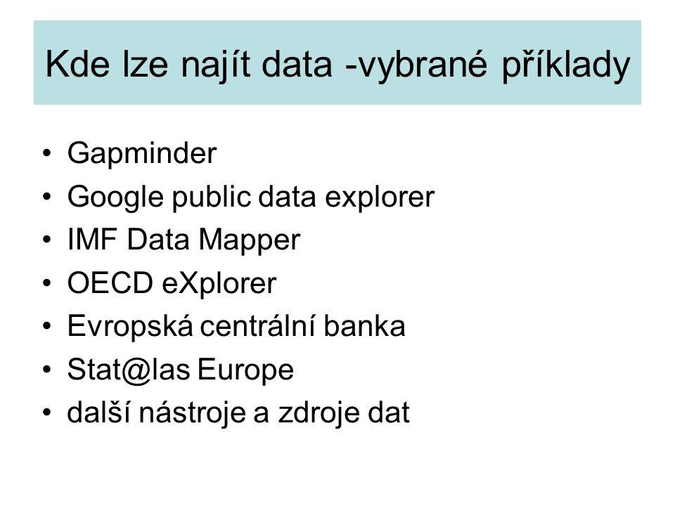 Kde lze najít data -vybrané příklady Gapminder Google public data explorer IMF Data Mapper OECD eXplorer Evropská centrální banka Stat@las Europe další nástroje a zdroje dat
