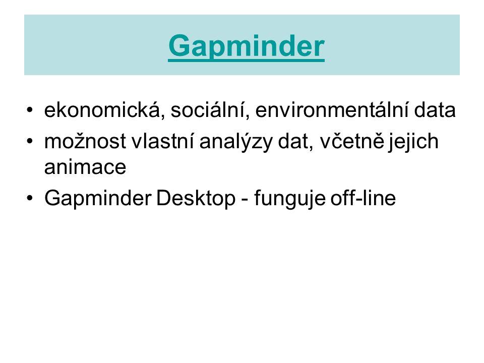 Gapminder ekonomická, sociální, environmentální data možnost vlastní analýzy dat, včetně jejich animace Gapminder Desktop - funguje off-line