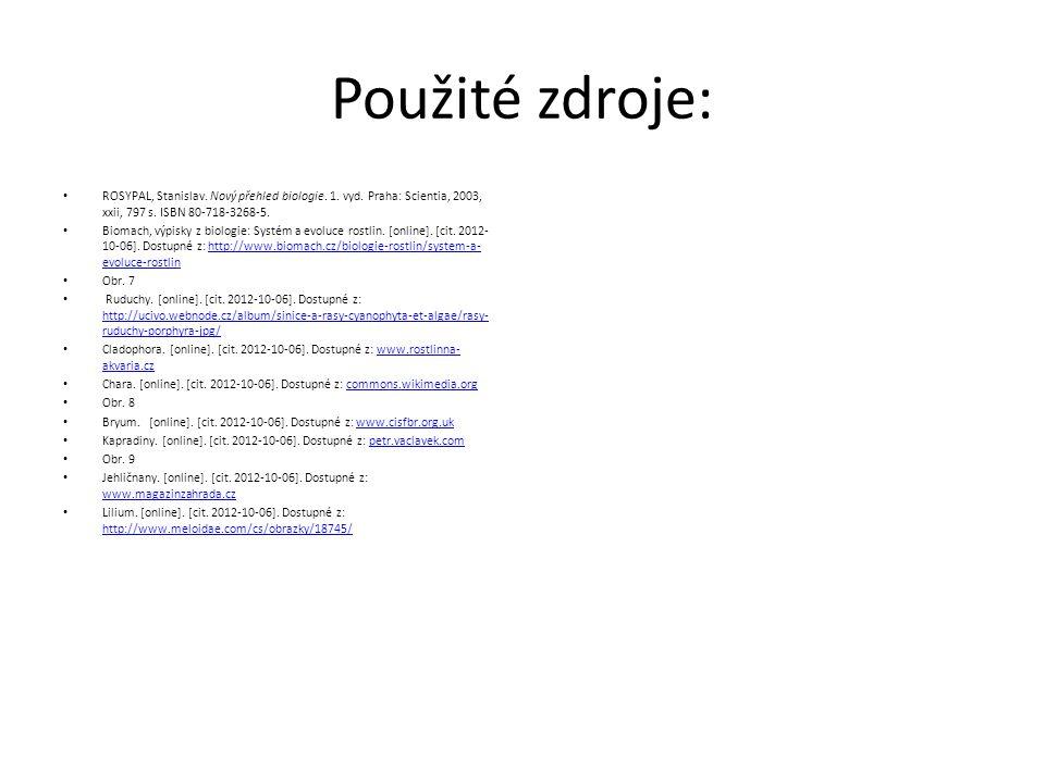 Použité zdroje: ROSYPAL, Stanislav. Nový přehled biologie. 1. vyd. Praha: Scientia, 2003, xxii, 797 s. ISBN 80-718-3268-5. Biomach, výpisky z biologie