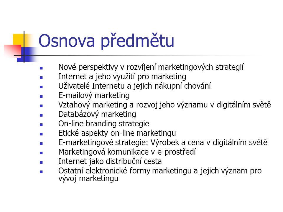 Osnova předmětu Nové perspektivy v rozvíjení marketingových strategií Internet a jeho využití pro marketing Uživatelé Internetu a jejich nákupní chová