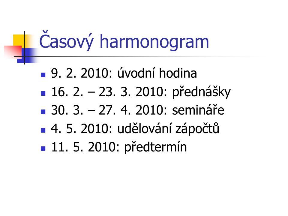 Časový harmonogram 9. 2. 2010: úvodní hodina 16. 2. – 23. 3. 2010: přednášky 30. 3. – 27. 4. 2010: semináře 4. 5. 2010: udělování zápočtů 11. 5. 2010: