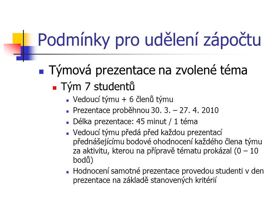 Podmínky pro udělení zápočtu Týmová prezentace na zvolené téma Tým 7 studentů Vedoucí týmu + 6 členů týmu Prezentace proběhnou 30. 3. – 27. 4. 2010 Dé