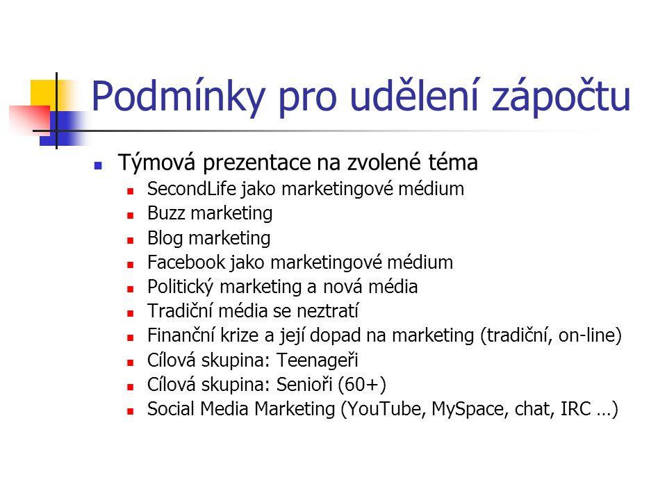 Podmínky pro udělení zápočtu Týmová prezentace na zvolené téma SecondLife jako marketingové médium Buzz marketing Blog marketing Facebook jako marketi