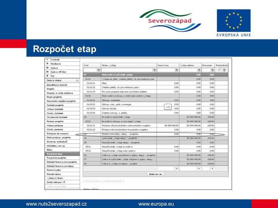 Rozpočet etap