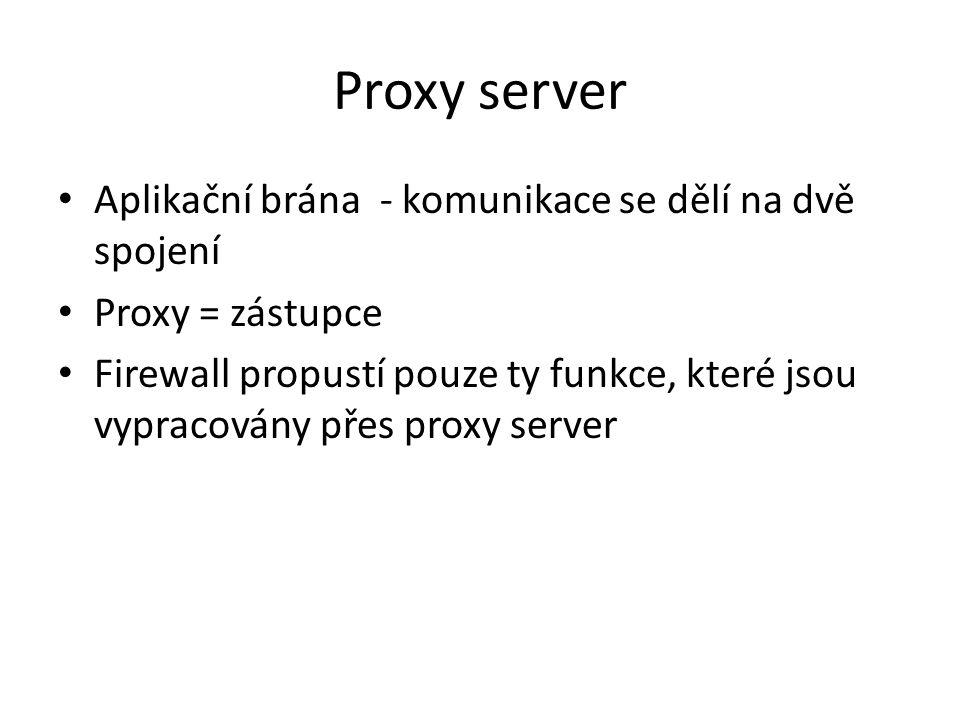 Proxy server Aplikační brána - komunikace se dělí na dvě spojení Proxy = zástupce Firewall propustí pouze ty funkce, které jsou vypracovány přes proxy server