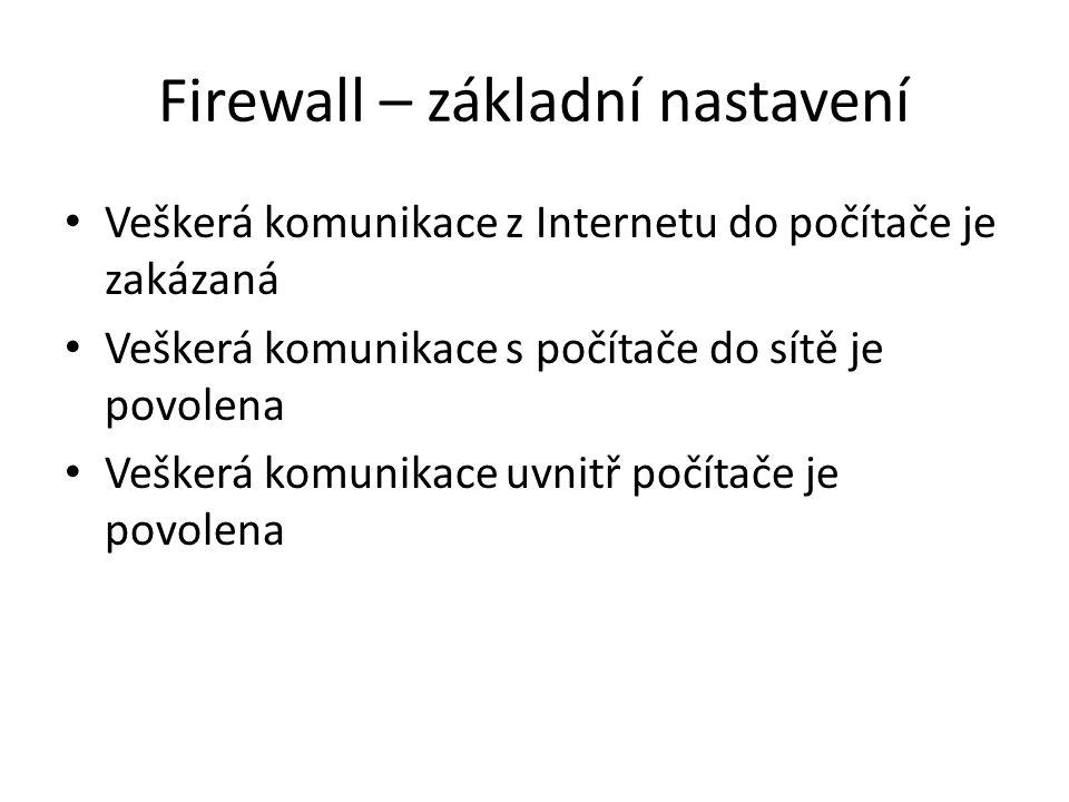 Firewall – základní nastavení Veškerá komunikace z Internetu do počítače je zakázaná Veškerá komunikace s počítače do sítě je povolena Veškerá komunikace uvnitř počítače je povolena