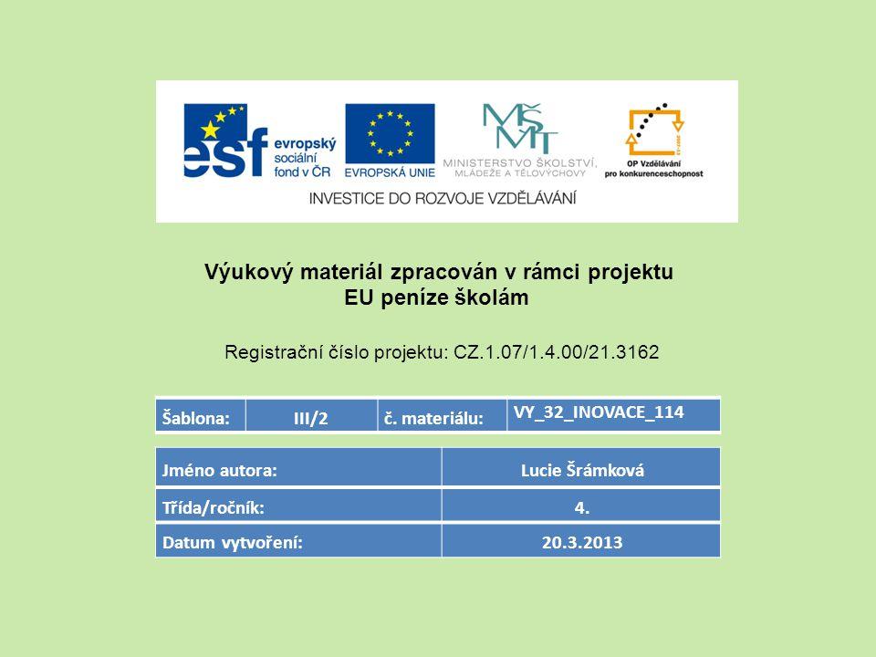 Šablona:III/2č. materiálu: VY_32_INOVACE_114 Jméno autora: Lucie Šrámková Třída/ročník: 4.