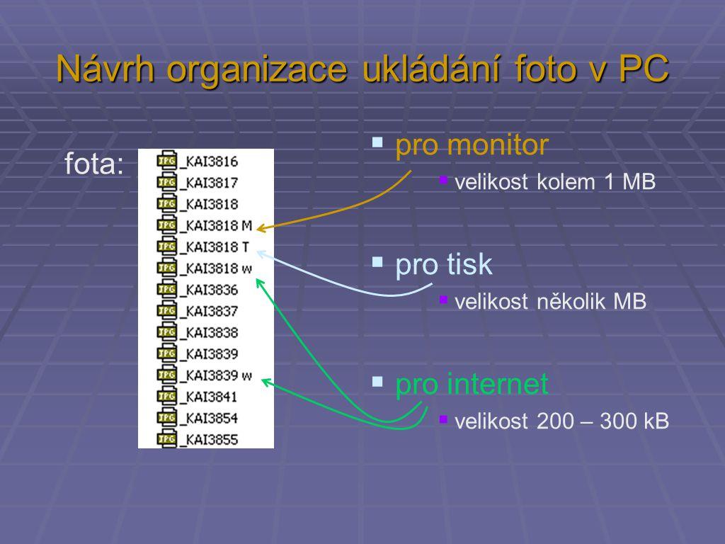 Návrh organizace ukládání foto v PC fota:  pro monitor  velikost kolem 1 MB  pro tisk  velikost několik MB  pro internet  velikost 200 – 300 kB