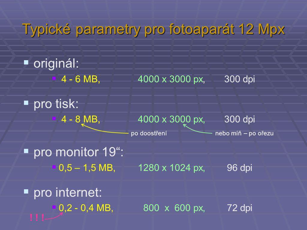 Typické parametry pro fotoaparát 12 Mpx  originál:  4 - 6 MB, 4000 x 3000 px, 300 dpi  pro tisk:  4 - 8 MB, 4000 x 3000 px, 300 dpi  pro monitor 19 :  0,5 – 1,5 MB, 1280 x 1024 px, 96 dpi  pro internet:  0,2 - 0,4 MB, 800 x 600 px, 72 dpi po doostření nebo míň – po ořezu .