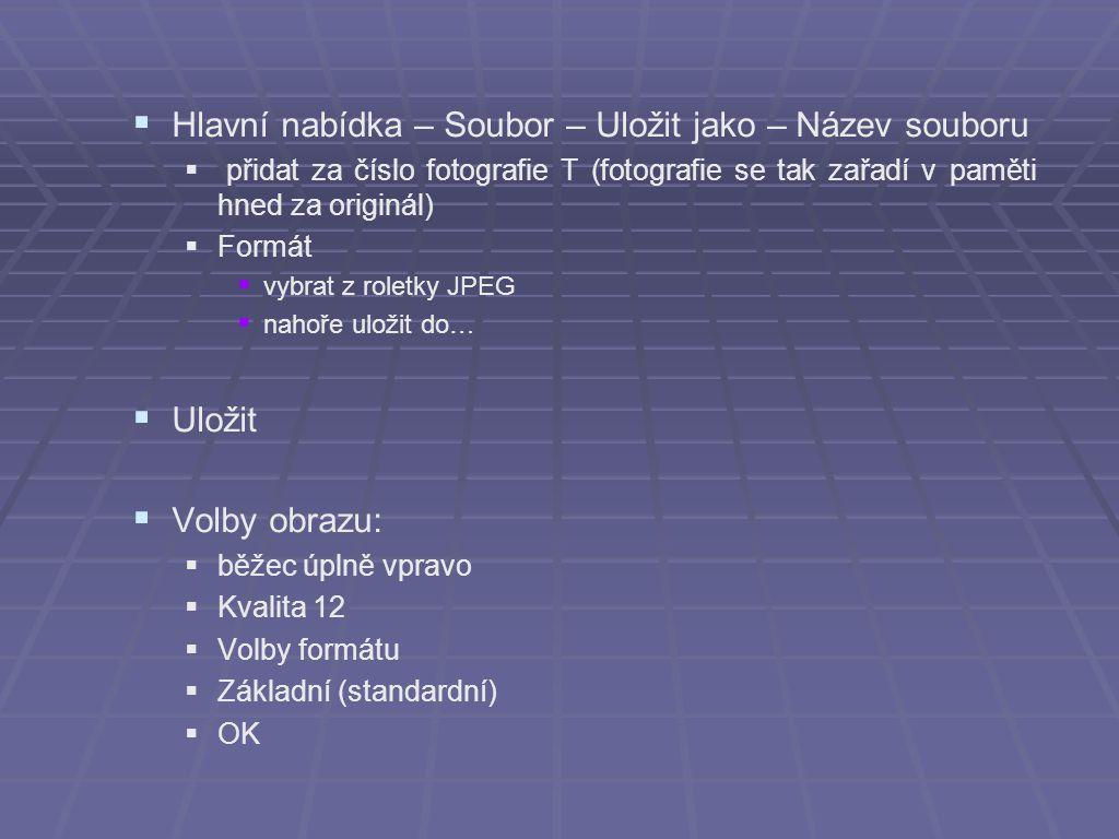  Hlavní nabídka – Soubor – Uložit jako – Název souboru  přidat za číslo fotografie T (fotografie se tak zařadí v paměti hned za originál)  Formát 