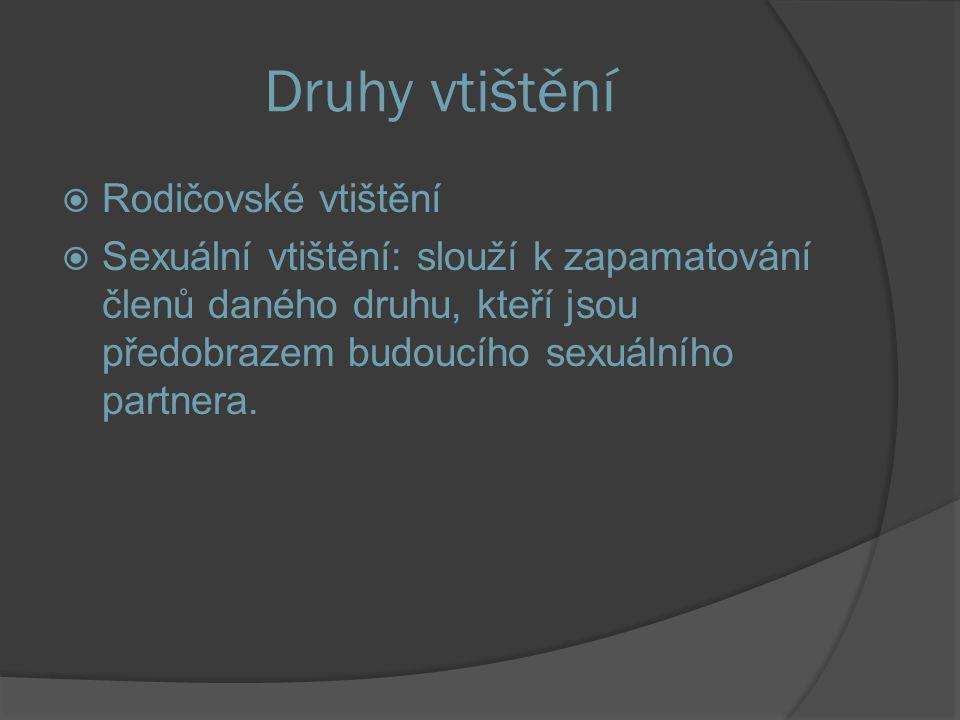 Druhy vtištění  Rodičovské vtištění  Sexuální vtištění: slouží k zapamatování členů daného druhu, kteří jsou předobrazem budoucího sexuálního partnera.