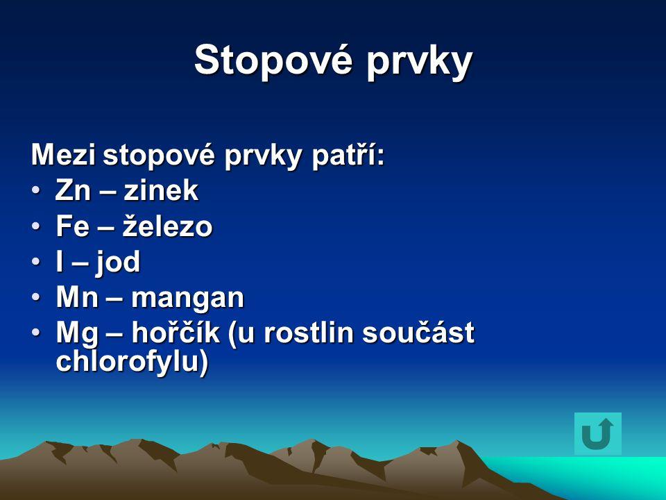 Stopové prvky Mezi stopové prvky patří: Zn – zinekZn – zinek Fe – železoFe – železo I – jodI – jod Mn – manganMn – mangan Mg – hořčík (u rostlin součá