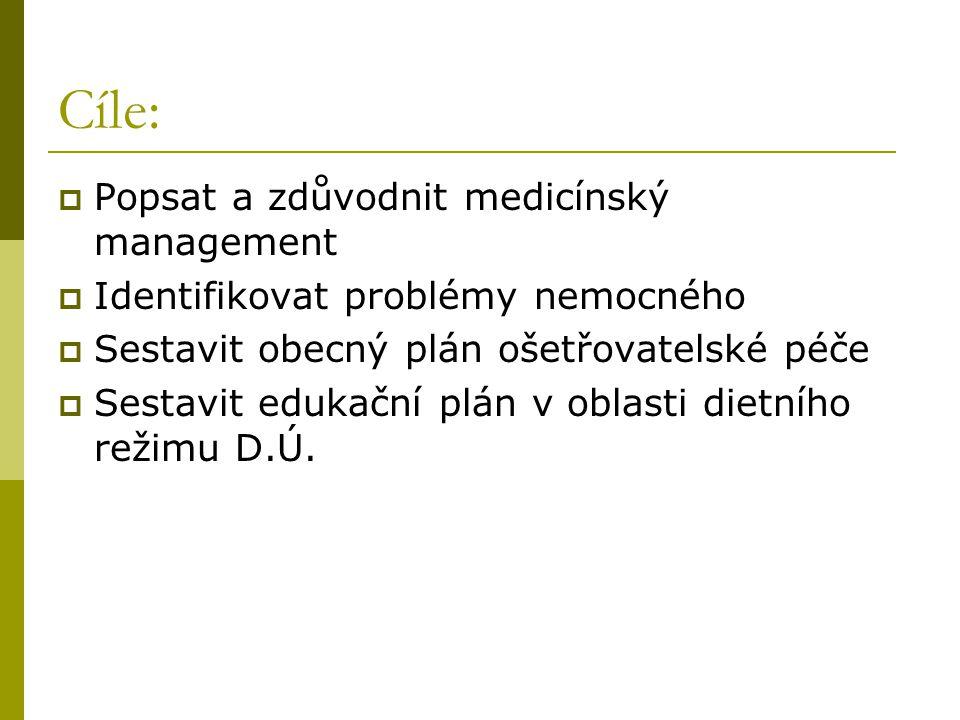 Cíle:  Popsat a zdůvodnit medicínský management  Identifikovat problémy nemocného  Sestavit obecný plán ošetřovatelské péče  Sestavit edukační plá